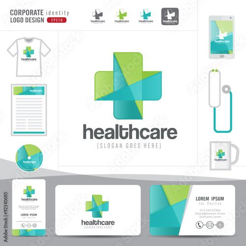 Logo design medical healthcare or hospital and business card logo design medical healthcare or hospital and business card template with clean and modern flat pattern reheart Images