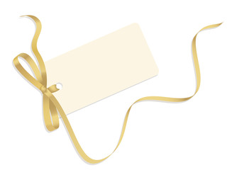VECTOR CHRISTMAS GIFT CARD WITH GOLD RIBBON