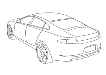 line drawing car, illustration