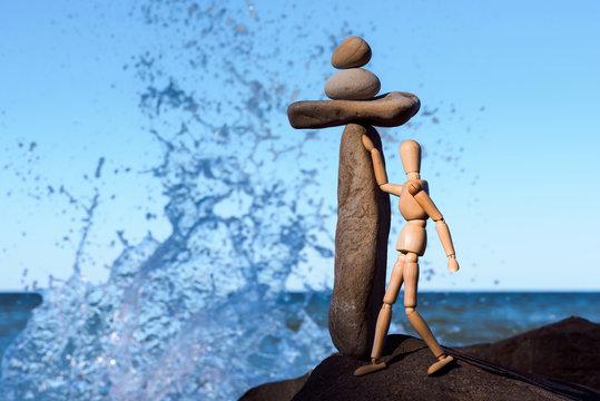 Splash at stone