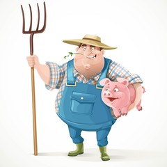 Thick old farmer in overalls and a straw hat holding a pitchfork