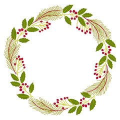 Christmas decorative wreath. Holly flower, ivy, mistletoe, cedar.  Vector illustration.