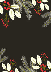 Christmas poster background with  holly flower
