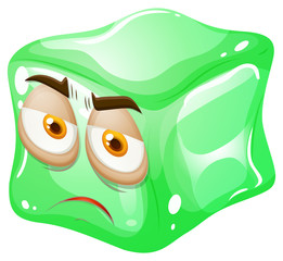 Green cube with face