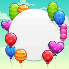 Cartoon background with bright colorful balloons