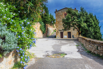 Passage between the flowers in the Italian village of medieval T