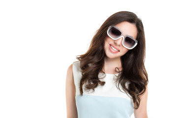 Portrait of young beautiful woman wearing white sunglasses.