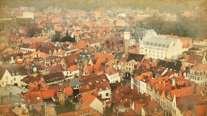 Top view on the historic center, Bruges,  Belgium. . Toned image