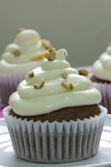 Carrot CupCake with Cream Cheese Icing and sprinkle walnut on top