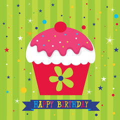 Hari jadi photos royalty free images graphics vectors videos birthday card with sweet cupcake vector illustration eps 10 hi res jpg included bookmarktalkfo Image collections