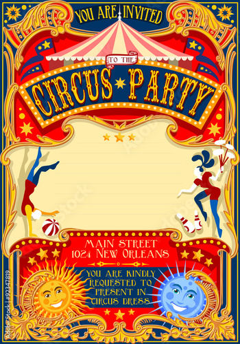 Circus Show Retro Template Party Invitation Cartoon Poster For Kid Birthday Carnival Festival