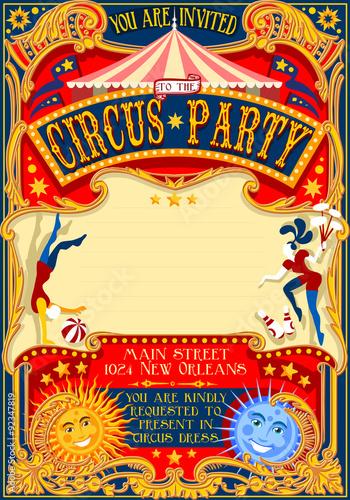Circus Show Retro Template Party Invitation Cartoon Poster