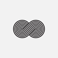 Infinity symbol, un-expanded strokes, vector illustration