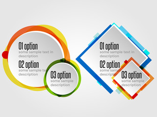Round Design Frames for Options Banners or Infographics