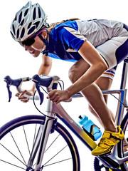 woman triathlon athlete cyclist cycling