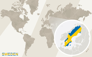 Zoom on Sweden Map and Flag. World Map.