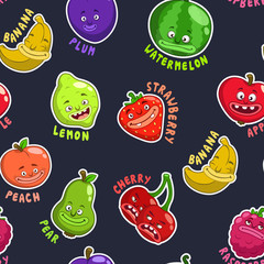 Seamless pattern with funny fruit characters