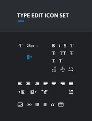 Pack of type editing icons. Icon set. Icons for text, type, character, pharagraph editing. Administrator icons.