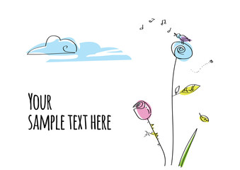 Vector hand drawn cartoon postcard with flowers and blossom. Sample, template.