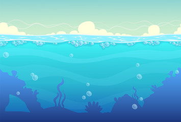 Poster Turquoise Underwater seamless landscape