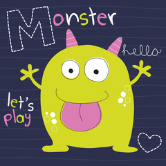 happy monster vector illustration