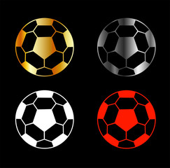 Footballs on blackbackground
