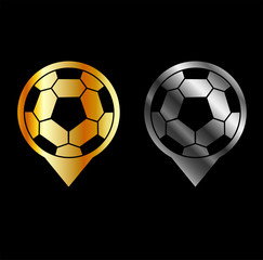 Footballs inside gold and silver placement- football stadium symbol