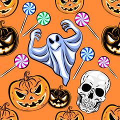 Foto op Canvas Aquarel Schedel Seamless Halloween pattern with a pumpkin.