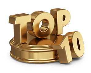 Golden top 10 list. 3D icon isolated on white background