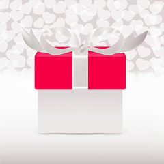 Vector gift box with hearts