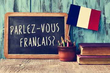 question parlez-vous francais? do you speak french? Fotobehang