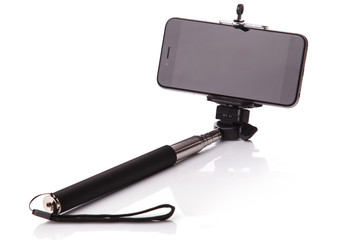 Smart phone on a selfie stick