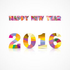 Happy New Year 2016.Colorful greeting card design.Vector illustr