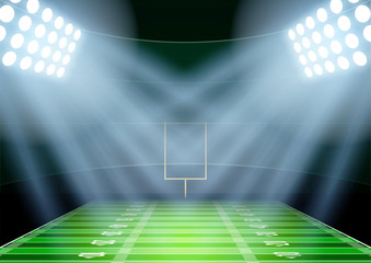 Background for posters night american football stadium in the