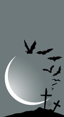 Halloween vertical banner - destroyed cemetery in full moon