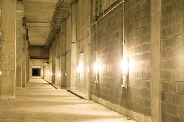 Empty industrial garage room interior with concrete.