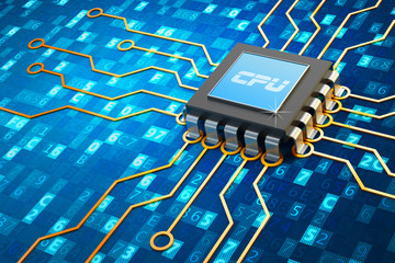 Central processor and computer technology concept, microchip with electronic circuit board on blue background with digital code data