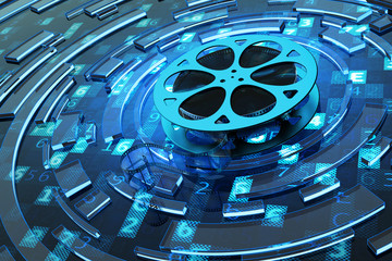 Digital video and multimedia concept, film reel on blue technology background with computer code and abstract circles