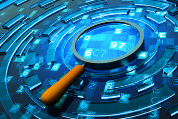 Data search, computer security and information technology concept, magnifying glass on blue background with digital code
