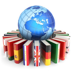 Foreign languages learn and translate education concept, dictionary books with covers in colors of national flags of world countries around Earth globe isolated on white background