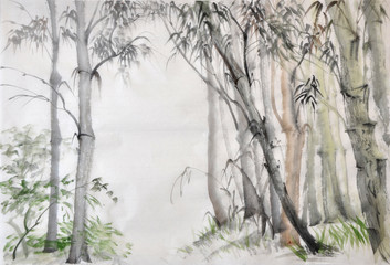 Original watercolor painting of bamboo forest on rice paper.
