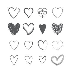 Set of heart shape hands drawn icons vector