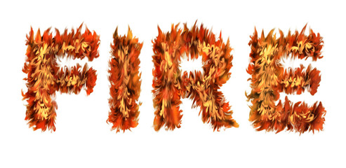 The word FIRE written with letters made from fire on white background
