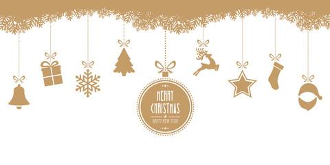 christmas hanging gold isolated background