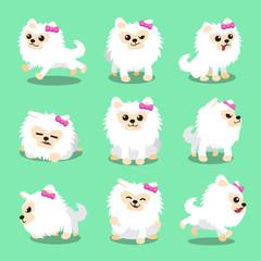 Cartoon character white pomeranian dog poses