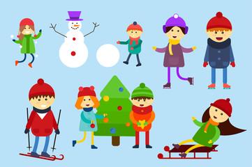 Christmas kids playing winter games. Skating, skiing, sledding