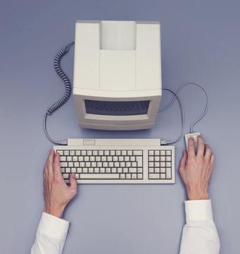 Retro computer - top view