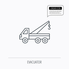 Evacuator icon. Evacuate parking transport sign.