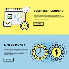 Time management and business planning graphic banners set.