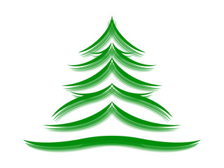 Symbol of a fir tree on a white background